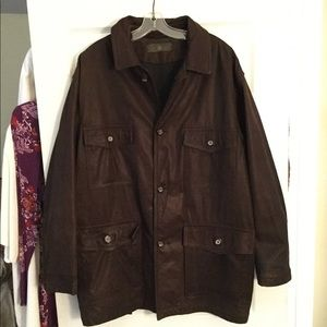 LUCIANO BARBERA MEN'S SOFT LEATHER OVERCOAT JACKET